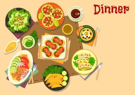 pita bread: Popular appetizers icon of mexican salad on pita bread and meat tortilla rolls, tomato sausage sandwiches, vegetable soup with egg, salmon and grapefruit snack, celery salad, zucchini with cheese