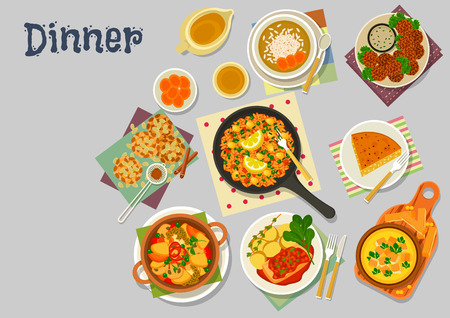 tofu: Vegetarian lunch dishes icon of vegetable omelette with tofu, lentil cream soup, vegetable paella, chickpea falafel, pumpkin pie, oat cookie, dessert rice soup with dried fruit. Healthy food design Illustration