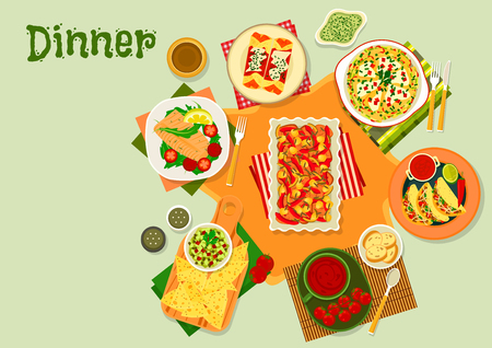 enchiladas: Mexican cuisine dinner icon of taco with salsa sauce, tomato chilli soup, tortilla roll enchiladas with chicken, guacamole with nachos, vegetable beef stew, pancake with cheese, cod in garlic sauce