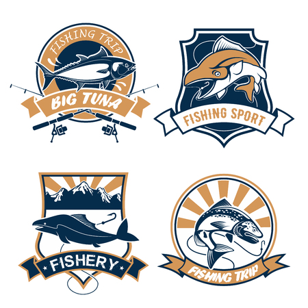 salmon fishery: Fishing icons set or emblems with fishing rods, hook and baits, river or lake fish catch of tuna, carp perch or sturgeon salmon or trout, catfish or eel. Fisherman sport club or fishery industry vector badges