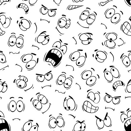 laughs: Emoticons and smiley of human face emotions and emoji expressions. Vector seamless pattern of cartoon eyes and mouth characters angry and smiling, sad or upset and surprised or shocked, crying and laughing Illustration
