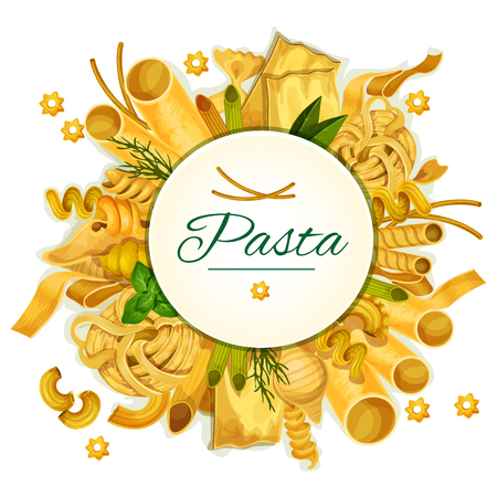 Pasta and macaroni poster with spaghetti varieties of tagliatelli and farfalle, penne, tircolore ravioli or bucatini, lasagna and pappardelle, konkiloni and seasonings basil or oregano. Vector macaroni sorts for Italian cuisine restaurant menu design Vettoriali