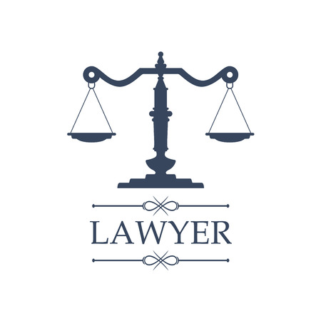 Ikona prawnika lub prawnika z symbolem wymiaru sprawiedliwości dla adwokata prawnego lub obrońcy praw. Godło prawne adwokata lub adwokata, radcy, firmy notarialnej lub sądu oskarżeniowego