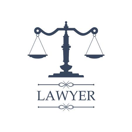 Rechtszentrum oder Gesetz Anwalt Symbol mit dem Symbol der Gerechtigkeit Waage für Rechtsanwalt oder der Gerichtsbarkeit Befürwortung. Juristisch Emblem für Anwalt oder Anwaltskanzlei, Anwalt, Notar Unternehmen oder Richter Strafverfolgung Gericht
