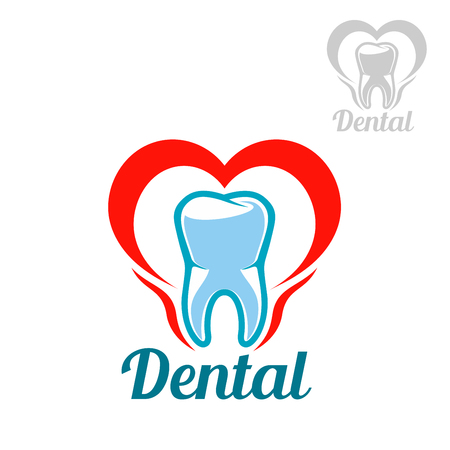 gum paste: Dentistry white tooth vector icon or isolated emblem with mouth heart symbol. Sign or badge for stomatology dentist office or dental health and care clinic, tooth paste or mouthwash product packaging design