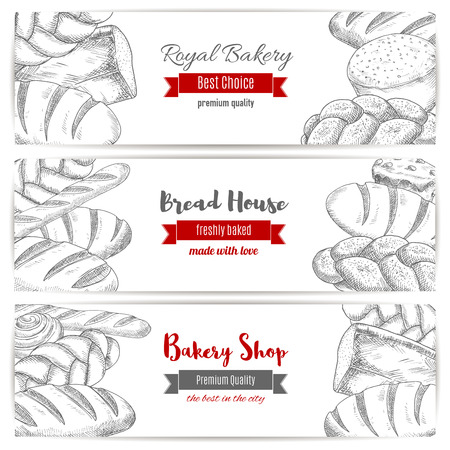 wheat bread: Bakery or baker shop horizontal banners set of white wheat toast bread, rye loaf brick or loaf, sweet sesame roll bun and croissant, bread sketch of wheat bagel, braided bread and fresh baked pretzel. Vector design for premium royal pastry