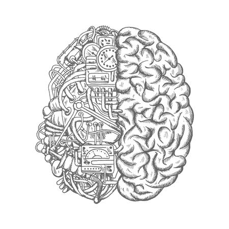 mécanisme de cerveau vecteur croquis icône. la moitié du cerveau humain de pièces de machines avec des tuyaux, l'allumage du moteur, relais et capteurs détecteurs électroniques, minuterie et mesurer voie métrique, engrenages ou entraînements mécaniques et basculer switchers. concept de processus mécanique
