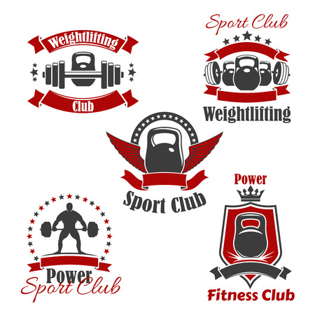 weightlifter: Gym sport club icons for weightlifting or powerlifting. Vector isolated icons set of iron weight barbell or dumbbell, weightlifter athlete, victory wings, crown and ribbons, badge or sign stars for fitness