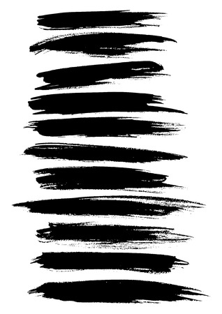 watercolor brush: Black paint lines and strokes or underlines stripes of watercolor or marker brush and highlighter. Vector horizontal felt-tip pen dabs set. Abstract isolated brushstrokes and ink smear smudges and stains traces Illustration