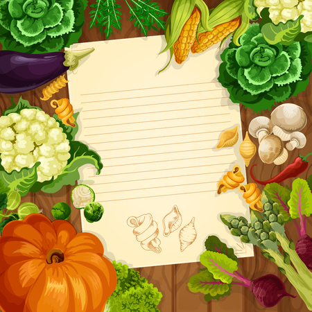 blank note: Recipe blank page or kitchen message note of vegetables on wooden background. Vector arugula and pumpkin, mushrooms and asparagus, corn and cauliflower cabbage, beet and green salads eggplant and pasta macaroni