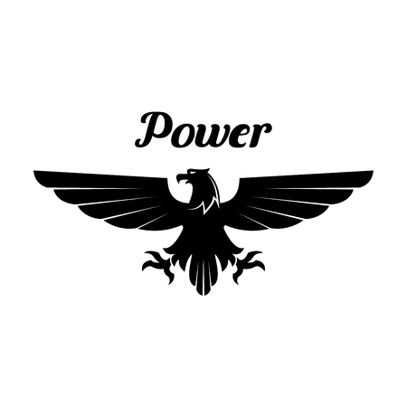 clutches: Black eagle emblem. Heraldic gothic vulture or falcon isolated vector icon of sign with open spread wings and sharp clutches. Gothic predatory bird symbol for sport team mascot, shield emblem, army, military or security coat of arms Illustration