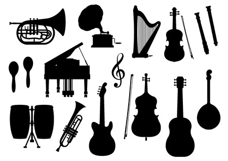 lute: Silhouette of musical instruments. Vector isolated icons of orchestra harp, contrabass and piano, maracas, saxophone and gramophone, ethnic jembe drums, jazz trumpet, acoustic guitar and banjo or lute, violin bow, flute and music clef note Illustration