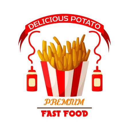 salty: French fries icon. Fast food vector isolated emblem of fried salty potato wedges chips or frites snack in striped paper box, ketchup sauce bottles and red ribbon. Sign or badge for fastfood restaurant takeaway or delivery menu