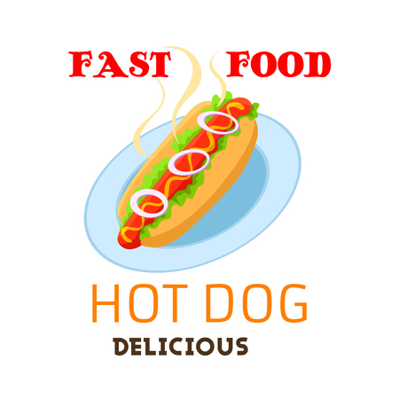 fast meal: Hot dog vector emblem. Fast food meal or snack of grilled hot sausage in buns with onion vegetables and sauce mustard or ketchup on plate. Fastfood restaurant delivery or takeaway isolated sign