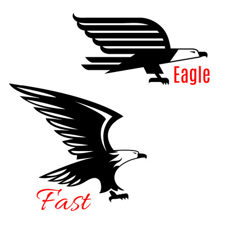wings bird: Black eagle vector icons set. Emblems of black flying falcons or hawks. Heraldic symbol of vulture of griffin predatory bird with open spread wings and sharp clutches for sport team mascot, military or security army shield, emblem or coat of arms