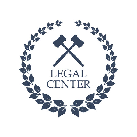 Advocacy juridical icon. Vector isolated emblem of crossed judge gavels and heraldic laurel wreath symbol for legal center, advocate or law and rights attorney office, counsel or lawyer and notary company Ilustração