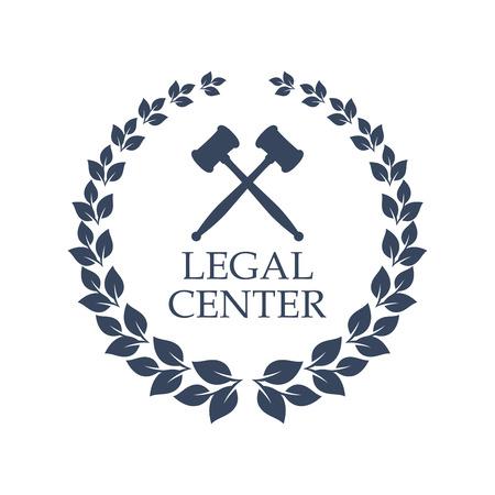 Advocacy juridische icoon. Vector geïsoleerd embleem van gekruiste rechter vergaderhamers en heraldische lauwerkrans symbool voor juridische centrum, advocaat of recht en de advocaat kantoor, raadsman of advocaat en notaris bedrijf
