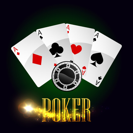 gambling game: Poker gaming cards and casino gambling chips vector poster with lucky winner combination of aces or spades, red hearts, diamonds and black clubs suits, round game bet tokens and gold glittering light