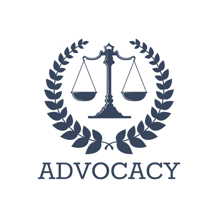 法人または唱道のアイコン ベクトルの紋章は提唱者や弁護士 office の正義のスケールおよび月桂樹の花輪シンボルと。法事務弁護士、検察官や弁護  イラスト・ベクター素材