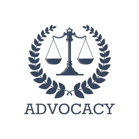 법률 아이콘 또는 옹호 또는 변호사 사무실에 대 한 저울 법화와 로렐 화 환 기호 옹호 벡터 상징. 법률 고문, 검사 또는 변호사 및 법정 변호사 공증인