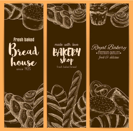 Bakery or baker house bread banners of sketch fresh baked pretzel, cinnamon roll, sweet sesame roll bun and croissant, white wheat toast bread, rye loaf brick or loaf and bagel with braided bread. Vector vertical brown design set for premium pastry