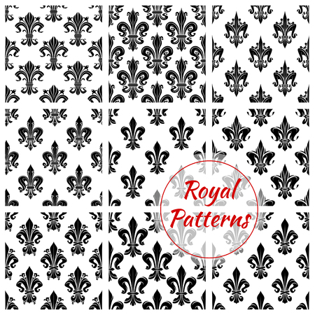 Luxurious royal flower pattern. Vector seamless set of royal french lily or fleur-de-lis ornament. Flourish and floral tile of flowery ornate baroque heraldic tracery. Embellishment motif of luxury imperial ornamental adornment for interior design