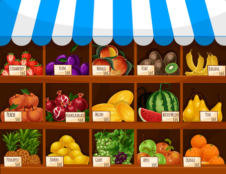 Fruit display of shop, store or market counter showcase stand. Fresh farm harvest of fruits and berries melon and watermelon, pear, grape and apple, orange, strawberry and plum, tropical mango, kiwi and exotic banana, pineapple, peach and pomegranate