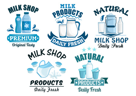 cream cheese: Dairy products and milk isolated icons of milky food and drinks of milk bottle and butter, sour cream and milk curd, cheese, yogurt or kefir in pitcher, cottage cheese and fresh cream in bowl for milk shop, store or market. Vector isolated emblems Illustration