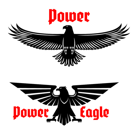 spread eagle: Black eagle vector icons set emblem. Heraldic symbol of power with vulture or falcon predatory bird. Isolated sign of hawk with open spread wings and sharp clutches for sport team mascot, military or security army shield, emblem or coat of arms
