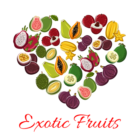 Fruit heart of exotic fruits with tropical fresh mango, grapefruit or red orange, passion fruit maracuya and feijoa, carambola and dragon fruit or pitaya, guava and juicy longan with figs and rambutan, durian and mangosteen. Vector poster