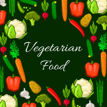 Farm vegetables poster of veggies harvest cauliflower and broccoli cabbage, chili and bell pepper, radish and carrot, potato and cucumber, asparagus, garlic and green peas. Vector vegetarian organic healthy food nutrition Illustration