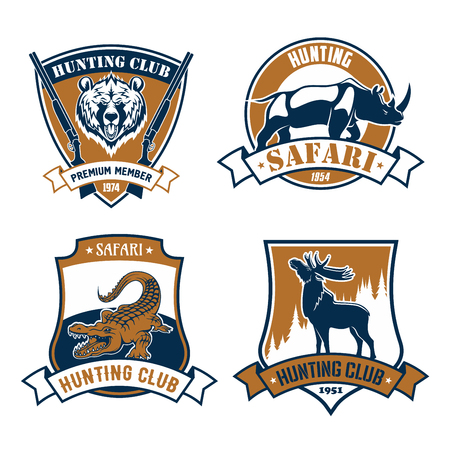 Hunting safari club icons and vector hunt emblems set of wild African safari animals grizzly bear and rhinoceros or hippopotamus, alligator or cayman crocodile, elk, deer or reindeer with antlers. Vector signs or ribbon badges for hunter adventure