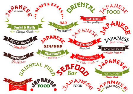restaurant food: Seafood or fish food ribbons or icons set. Vector emblems and banner signs design for premium quality Japanese or oriental sea food restaurant with daily fresh sushi and sashimi, wok or noodle bar Illustration