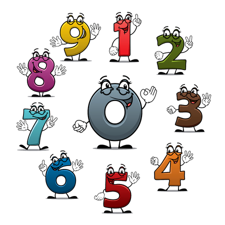 Numbers icons of vector cartoon characters. Smiling numerical figures or numeral digits with eyes, showing numerals quantity with fingers gestures for children math or arithmetic counting education Vettoriali