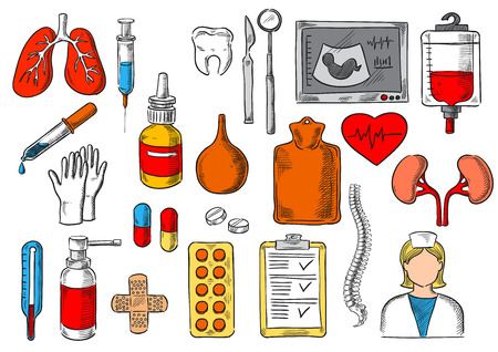 warmer: Medicines and treatment tools and items. Vector sketch isolated icons of medical pills, human organs lungs, heart and kidney, blood dropper, enema syringe and spray, ultrasound and spine bones, thermometer, dentist nurse mirror, scalpel and tooth Illustration