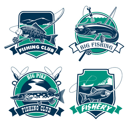 crucian: Fishing icons set. Fisherman club or fishery industry vector isolated badges and emblems with fish catch of carp, sheatfish on hook, fishing rods and baits with pike and crucian. Blue and green marine design