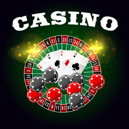 gambling game: Wheel of fortune casino vector poster with lucky numbers on bet roulette, gambling chips and poker game cards of aces with spades, hearts, diamonds and clubs suits with gold glittering light