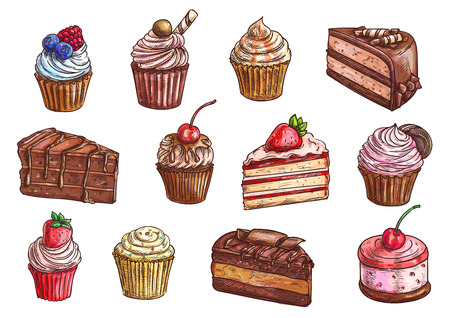 Cakes, cupcakes and pastry desserts vector sketch isolated icons of chocolate muffin, creamy pie or tarts with strawberry and cherry berry on whipped cream topping, vanilla waffle biscuit and cookies for bakery shop, cafe, cafeteria or patisserie Ilustração