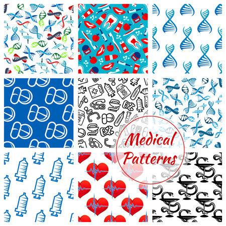 hippocratic: Medical seamless patterns set of of medicines and medication items heart pulse, DNA helix and syringe, thermometer, dentistry items tooth paste, brush and apple, pills and drugs, apple and doctor stethoscope, ambulance Hippocratic snake and bowl