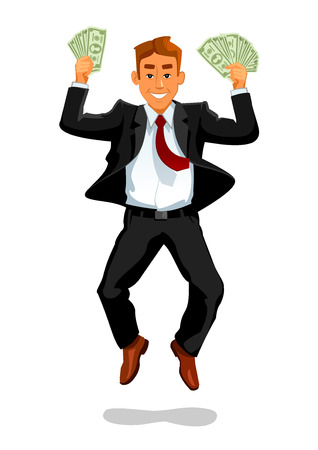 fortune concept: Lucky man with money jumping and laughing of happiness. Businessman or manager winner having luck of growing rich, making big money fortune or win jackpot or lottery banknotes. Material wealth and lucky success concept
