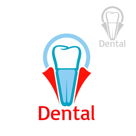 dent: Dentist and dentistry icon or emblem with vector symbol of tooth implant set in dent gum. Isolated sign or badge for dentist clinic, stomatology or dental implantation surgeon office, tooth paste, mouthwash or floss packaging design Illustration
