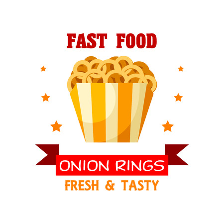 fast meal: Fast Food Onion Rings snack emblem. Fried crispy deep-fry onion rings in paper basket. Fresh and tasty meal. Vector isolated icon, badge or sign for fast food menu with stars and ribbon