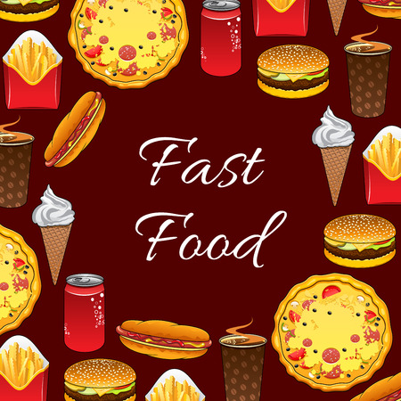 fast meal: Fast Food poster of vector junk food meal, snacks and desserts sandwich burger and cheeseburger, hot dog, soda drink and coffee cup, pizza and french fries, ice cream dessert for menu or takeaway