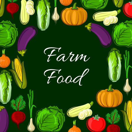 vegetarian cuisine: Farm food poster of vegetables. Veggies harvest of cabbage with squash and leek, onion and beet, chinese cabbage napa, corn and tomato, pumpkin and eggplant. Vector vegetarian organic healthy food cuisine Illustration