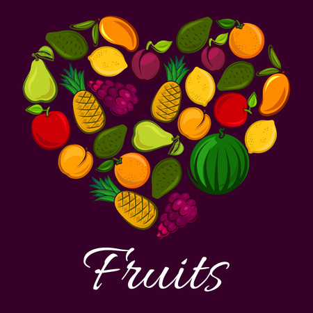 grape fruit: Heart of fruits. Vector fruit poster with fresh fruit harvest of ripe watermelon, red grape, juicy orange or tangerine, citrus lemon, exotic mango and tropical pineapple with avocado, pear, apricot and apple. Symbol of farm harvest organic fruits Illustration