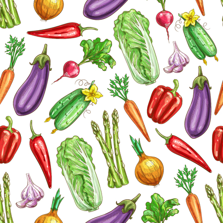 Vegetables pattern of of carrot, asparagus, chili and bell pepper, eggplant, cucumber, onion, garlic, chinese cabbage, radish. Vector seamless background with farm fresh organic ripe harvest veggies
