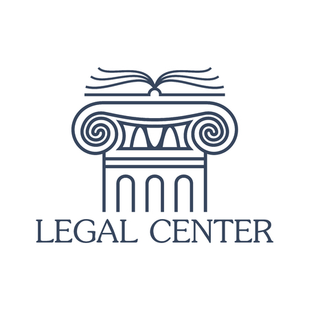 legal law: Legal assistance center emblem. Badge for law and juridical company or office. Vector isolated icon of antique greek or roman column pillar with open book for lawyer and notary, attorney or counsel service