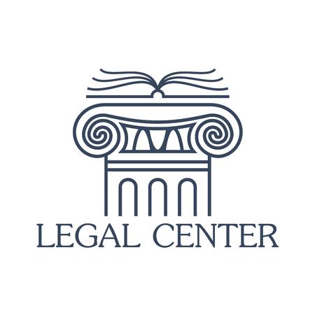 derecho romano: Legal emblema centro de asistencia. Insignia de la ley y de la empresa u oficina jurídica. aislado Icono del vector del antiguo pilar de la columna griega o romana con el libro abierto para el abogado y notario, abogado o servicio de abogados