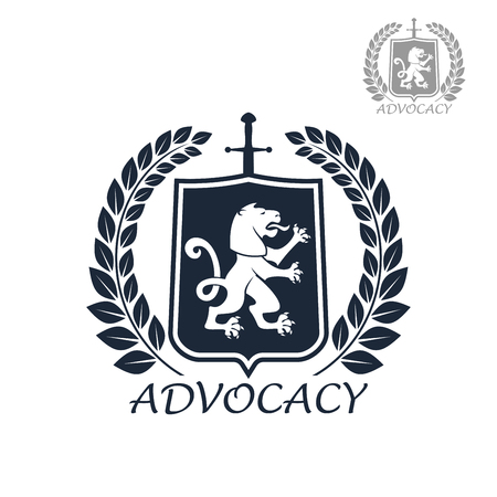 legal law: Advocacy and lawyer or attorney icon. Legal juridical assistance emblem. Badge for law and counsel service company or office. Vector isolated badge of heraldic lion sign on shield and laurel wreath Illustration
