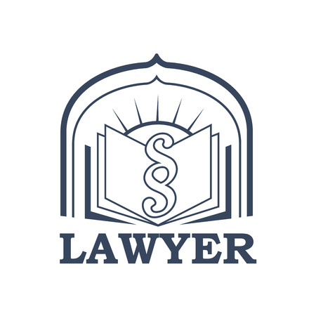 Lawyer emblem for juridical or notary company. Vector sign or badge for law attorney or advocacy assistant office. Isolated icon of open book with paragraph or clause symbol with arch and sun Vector Illustration